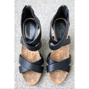 BCBGeneration Faux Leather Strap Wedges 7.5